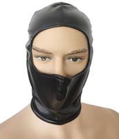 mascarillas de cuero al por mayor-Kinky Head Bondage Half Face Abrir Gimp Hood Soft Leather Volver Zip Mask Fetish Head Harness Disfraz de Cosplay