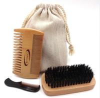 Wholesale Natural Wood Bristle Brush - 3pcs Wooden Beard Brush Boar Hair Bamboo With Boar Bristle Natural Wooden Comb Beard Care of the Shaving Brush Set