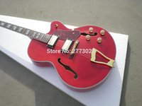Wholesale mail art online - High quality red art jazz guitar electric guitar maple wood material EMS exquisite handmade guitar bag mail delivery