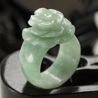 Wholesale ladies acrylic rings - A goods natural Burma Jade bean green small flowers rose jade ring ring flower ladies ladies free shipping