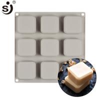 sabun için silikon kalıpları toptan satış-SJ Marka El Yapımı Silikon Kalıpları 9-Cavity Kalıp FDA Güvenli Bakeware Kare Sabun Kalıp Maker Pişirme Araçları Kek Ekmek Aletleri