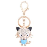 kristall schlüsselanhänger tiere großhandel-Art- und Weisetier-reizende Katze Keychain Kristallrhinestone-Metallkeychain Rose Gold überzogenes Schlüsselring-Auto-Schlüsselring-Geldbeutel-Charme-Handtaschen-Anhänger