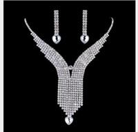 ingrosso collana di diamanti nuziali di nozze-Set di gioielli da sposa in lega da sposa con diamanti e perle