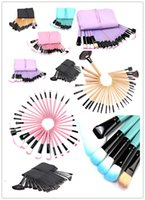 Wholesale roll drops - DHL 32Pcs Professional Makeup Brushes Eyebrow Shadows Make Up Cosmetic Brush Set Kit Tool + Roll Up Case in Stolck Free Drop Ship
