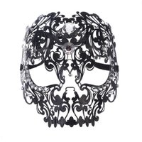 máscaras de rostro completo sexy al por mayor-1 Unids NUEVA Moda de Alto Grado Máscara de Metal Fiesta de la Cara Llena de baile Máscara de Ojo Sexy Hollow Patrón Blanco Negro 30 cm * 45 cm