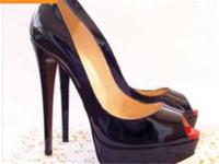 zapatos de diamantes sexy al por mayor-Tallas grandes 34-42 Diamante de cuero inferior rojo Tacones altos Peep-Toe Zapatos de mujer Sexy Tacones rojos Tacón rojo Mujer Bombas de boda