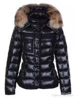 Wholesale Women Three Button Suit Jacket - Luxury Brand Design Mon Jacket Big 100% Real Raccoon Fur Coat Women Down Coat Canada Down Collar Hood Parkas High Quality Bridal Jacket