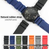 renkli lastik bantlar toptan satış-26mm 24mm Renkli Su Geçirmez Kauçuk Silikon Watch Band Kayışı Pin Toka Panerai İzle PAM Man PAM00616 için Watchband Kayışı Araçları ile