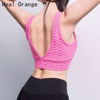 ingrosso sottogonne arancioni-Heal Orange Mesh Stitching Canotta Sport Reggiseno Quick Dry Canotte Palestra Donna Canotte Sport Camicie Donna Sport Canotta