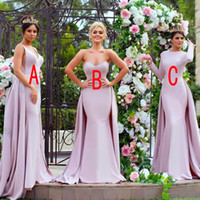 Wholesale red wedding dress western style for sale - Group buy Mixed Styles Long Mermaid Bridesmaid Dresses V Neck Sweetheart Overskirts Applique Beaded Western Custom Wedding Guest Maid of Honor Gowns