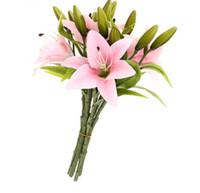 cabeças de flores artificiais venda por atacado-6 pcs Real Toque Real Toque Lírios Flor Artificial Bouquets de Casamento Casa Decoração De Noiva Flores Decorativas 3 Cabeças P20