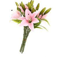 vrai décor achat en gros de-6 pcs Real Touch Real Touch Lys Bouquets de Fleurs Artificielles Accueil Mariage Décor De Mariée Décoratif Fleurs 3 Têtes P20