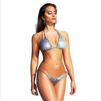 bikini mayo butt toptan satış-Payet bikini Moda swimwearSexy Mayo Bikini Bling Mikro Scoop Ezme Butt Alt Takım Elbise