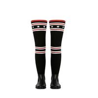 meias de emagrecimento de coxas venda por atacado-Botas de chuva Mulheres sobre o joelho de borracha Sock Botas Magro gingham Jackboots Coxa Sapatinho salto de Inverno de malha Shoes