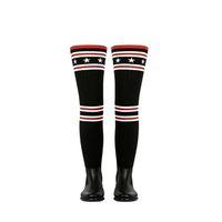 носки для похудения оптовых-Дождевые сапоги Женщины над коленом резиновые сапоги Носок Тонкий Ткань Gingham ботфорты бедренной кости пятки зимние пинетки вязаные обувь