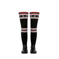 uyluklar zayıflama çorapları toptan satış-Yağmur Çizmeleri Kadın Diz Üzerinde Kauçuk Çorap Çizmeler Ince Kumaş Şemsiye Jackboots Uyluk Topuk Kış Patik Örme Ayakkabı