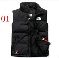 erkekler yelek ceketler toptan satış-Sıcak 2019 erkekler AŞAĞı aşağı kış ceket kuzey Polartec yelek Erkek Spor Kapüşonlu Ceketler Bombacı Yaka Fermuarlar Ile Açık yüz ...