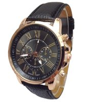 Wholesale pu faux watches online - 2018 NEW NEW Women watch and men watch Roman Numerals Faux Leather Analog Quartz Wrist relojes mujer kol saati Oct17