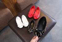 Wholesale flat shoes korean styles - Girl Shoes Girls Fashion PU Bowknot Princess Shoes Children Rivets Flats Korean Style pairs l