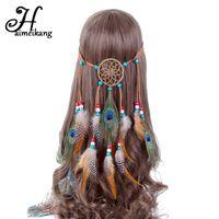 ingrosso copricapo della piuma di modo-Haimeikang Bohemian Hippie Fascia Dream Catcher Feather Headdress Fashion Indian Peacock Feather Fasce per capelli Accessori per capelli