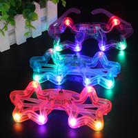 brinquedos de plástico venda por atacado-DHL LEVOU Luz Decoração De Vidro De Plástico Brilho LED Óculos de Luz Brinquedo de Vidro para Crianças Festa de Celebração de Natal de Ano Novo de Néon Mostrar decorações