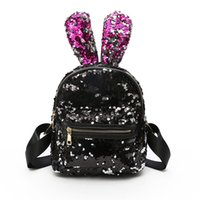Wholesale japan cute rabbit - Mermaid Sequin Backpack Cute Rabbit bunny Ears Sequin Backpack Paillette Double Shoulder Bag Outdoor Backpack Glitter Travel Makeup Bag