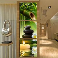 ingrosso tela di olio di bambù-Green Bamboo Stone Spa HD Stampe Dipinti Wall Art Decorazione Domestica Cornice Tela Pittura A Olio Per Soggiorno camera da letto ht036