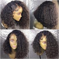 Wholesale silk top glueless wig kinky curly online - Afro Kinky Curly Human Hair Afro Kinky Curly Lace Front Wigs Glueless Full Lace Wig Silk Top Virgin Peruvian Human Hair Wig