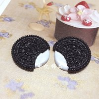 Wholesale oreo biscuits resale online - DIY Resin Simulation Oreo Biscuits Eco Friendly Cell Phone Shell Beauty Head Ornaments Ring Hair Bundle Button Craft Tools qy bb