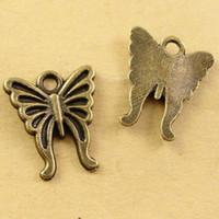 encantos animais do telefone móvel venda por atacado-A2433 16 * 15 MM Antique Bronze Retro Vintage charme contas de borboleta acessórios de telefone celular, animal em forma de jóias, animal pingente