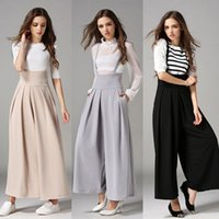 Wholesale wide legged pants for women - Women Casual Pleated High Waisted Wide Leg Palazzo Pants Suspenders Trousers mono Combinaison Macacao For Female #15