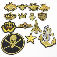 patches d'ancrage achat en gros de-14pcs pièces d'or mélangé couronne crâne étoile crâne d'ancrage pour vêtements fer sur patch brodé applique accessoires de couture autocollants autocollants 4-9cm