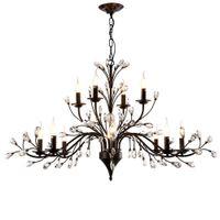 роскошные железные люстры оптовых-Современный роскошный дизайн E14 K9 Кристалл черный утюг Led люстра светильники для отеля чердак столовая бар спальня Главная лампа