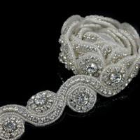 rhinestone-trimmkristall großhandel-Kristall 1 Yard Fabrik Preis Strassapplikationen Trim Für Hochzeit Dekoration Haus Und Garten Hot-Fix Strass