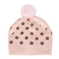 Wholesale girl baby cap hair for sale - Group buy New cotton children s dotted wool knit hair ball cap baby boys girls cap fashion sequin hat