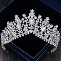 swarovski hair UK - Sparkling Crystal Silver Wedding Tiara Swarovski Bridal Diadem Crystal Bridal Crowns Wedding Hair Accessories Queen Tiaras