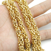 Wholesale 7mm rope chain - AMUMIU Top Quality 7mm Gold Chain Huge & Heavy Long Rope Stainless Steel Men's Chain Necklace Link Wholesale KN010