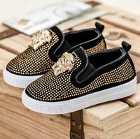 Wholesale head winter shoes - Children Shoes Sneakers Spring Kids Children's Baby Rhinestones Sneakers Causal Shoes Metal Head Boys Girls Sandals Shoes