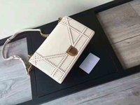 Wholesale lady d handbag - Lady D bag Flap bag women Chain bag Ladies luxury High Quality Handbag real leather purse leather purse