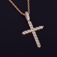 Wholesale rope necklaces materials - Gold Silver AAA Cubic Zircon Cross Pendant Necklace Copper Material Bling CZ Men Women Hip Hop Jewelry With Cuban Rope Chain