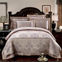 Wholesale bedding sets silk satin purple online - Noble Luxury Bedding set Tribute Silk satin Jacquard Bedclothes KING QUEEN SIZE duvet cover cotton bed linen bedsheet set