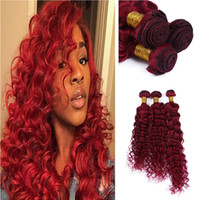 Wholesale Red Hair Products - New Product Bright Red Color Human Hair Weaves Extension Brazilian Virgin Hair Deep Wave Burgundy Red Hair 3Bundles For Woman
