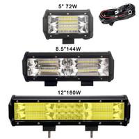 Wholesale 4x4 Led Light Bar - 8.5'' Inch 144W Led Light Bar 3-Row 72W 180W Amber Color for Car 4x4 Offroad SUV UAZ Working Fog Lights Headlight 12v Barra