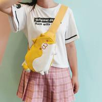 sacs à bandoulière filles preppy achat en gros de-PACGOTH Kawaii Girls Toile Messenger Sacs Style Preppy Animal imprime Cute Doge Poitrine Épaule Crossbody Sacs Zipper Cartoon