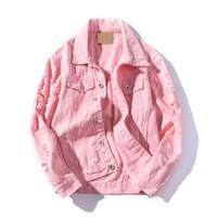 botones rosados agujeros al por mayor-Frayed Hole Jeans Chaqueta Hombre Slim Fit Pink Bomber Jacket Hombres Hip Pop Streetwear Chaqueta Hombres Botón Primavera Otoño