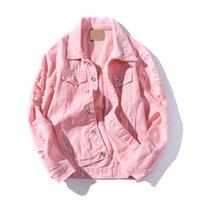 ingrosso rosa pulsanti-Frayed Hole Jeans Jacket Uomo Slim Fit Pink Bomber Jacket Uomo Hip Pop Streetwear Giacca Uomo Primavera Autunno