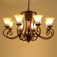 Wholesale Brown Lampshade - Vintage Chandeliers Flush Mount Ceiling Pendant Lamps E27 Lighting Fixture Lamp Glass Lampshade Iron Retro Light for Living Room Bedroom