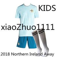 Wholesale custom rugby shorts - 2018 Northern Ireland kids sock Jerseys 8 DAVIC 10 K.LAFFERTY 5 J.EVANS 17 McNAIR Custom Away Green Blue Rugby Wear