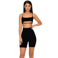 Wholesale yoga pants tops for sale - 2 Layers Sexy Two Piece Set Top And Pants Piece Set Women Shorts Crop Top Summer Sets Plus Size Tracksuit Women
