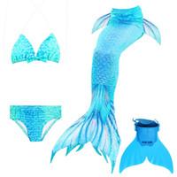 ingrosso le neonate nuotano i vestiti-4 pezzi / coda di sirena per costume da bagno 2018 sirena costume da bagno per bambini bikini primavera calda del bambino nuoto costume da bagno ragazze